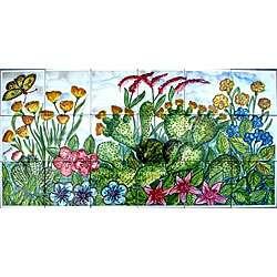 Mosaic Garden Theme 18 tile Ceramic Wall Mural Art