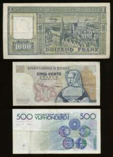 OLD BELGIUM 500 & 1000 FRANC NOTES (1945 1981) INTERESTING  NO