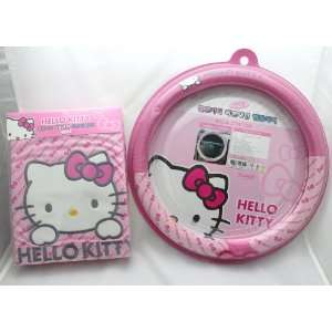 Hello Kitty Car 3 Pcs Set ; 2 Seat Cover / Wheel Cover