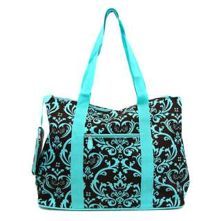 NEW DAMASK TOTE DUFFLE DIAPER BAG LUGGAGE BLUE BROWN