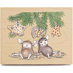 House Mouse Christmas Cookie Eaters Wood mounted Rubber Stamp