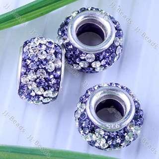 1pc 925 Sterling Silver Czech Crystal European Bead Fit Charm Bracelet