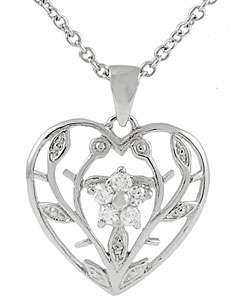 Sterling Silver Flower Inside Heart Necklace