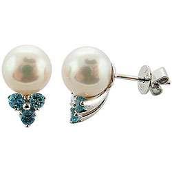 14k White Gold White Akoya Pearl and Blue Topaz Stud Earrings (8 8.5