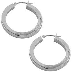 14k White Gold Square Tube Hoop Earrings