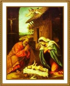 Nativity by Italian Artist Lorenzo Lotto Counted Cross Stitch Chart
