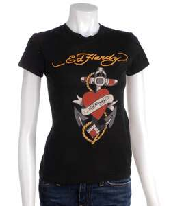 Ed Hardy Womens Love Anchor Short sleeve T shirt