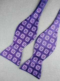 Pattern Purple White Woven 100% New Silk Mens Self Bow Tie