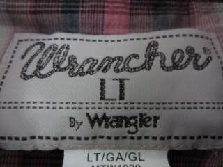VINTAGE WRANGLER WRANCHER Western Cowboy Pearl Snap Shirt Size LT VTG