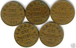 1932 1933 1934 1935 1936 George V 1 Cent Copper Coins