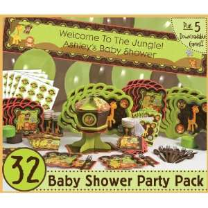 FunfariTM   Fun Safari Jungle   32 Baby Shower Party Pack
