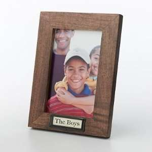 Fetco® 4 x 6 Brown Wood Frame   Vintage Metal Label