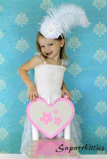 Victorian White Feather Baby Mini Top Hat Headband Bridal/Flower Girl