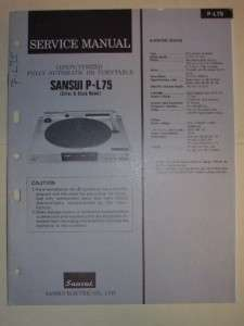 Sansui Service Manual~P L75 Turntable~Original