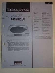 Sansui Service Manual~P L75 urnable~Original |