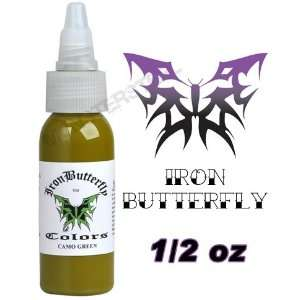 Iron Butterfly Tattoo Ink 1/2 OZ CAMO GREEN Pigment NEW: Health