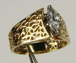 Genuine Marquise Cut White Sapphire 14k Y Gold Filigree Ring 5g