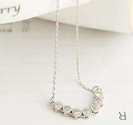 Cute Ladys Love Full CZs Silver Chain Fashion Necklace