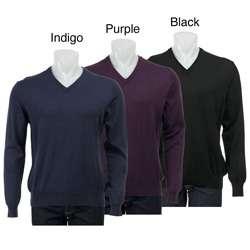 Toscano Mens Italian Merino Wool V neck Sweater