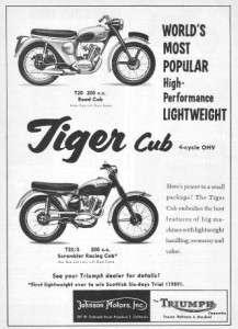 1960 Triumph Tiger Cub T20 Motorcycle Original Ad
