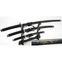 Japanese Samurai 3 piece Black Sword Set