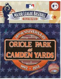 2012 Baltimore Orioles Camden Yards 20th Anniversary Logo Patch 100%