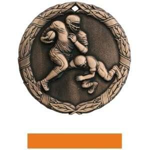 Hasty Awards Custom Football Medals M 300F BRONZE MEDAL/ORANGE RIBBON