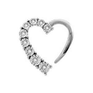 (1/10 Ctw) 10k White Gold Diamond Journey Heart Pendant