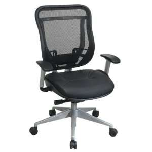 Office Star 818 High Back Chair w, Leather Seat in Black