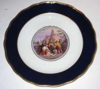 Set 12 Antique Meissen Porcelain Painted Cabinet Plates