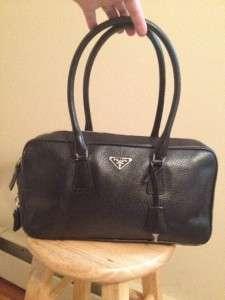 Fabulous Prada Black Leather Satchel Bag Purse w/ Dust Bag & Key