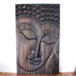 Monkey Pod Wood Black Oil Serene Buddha Panel (Thailand)
