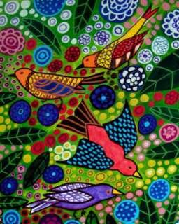 PRINT Toile Birds Green Flowers Tree Folk Art Painting
