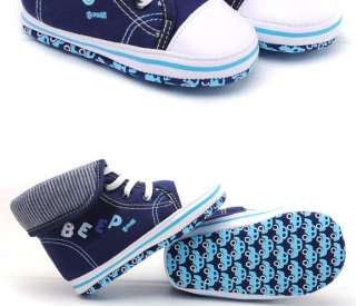 Boy Baby Infant Toddler Cuffs Canvas Sneaker Shoes 9 12 M Month 1682BB