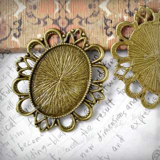 Antique Vintage Brass Style Oval Cameo Cabochon Settings Charm