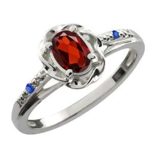 0.57 Ct Oval Red Garnet Blue Sapphire Sterling Silver Ring
