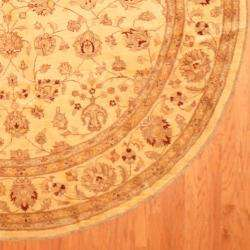 Hand knotted Vegetable Dye Ivory Wool Rug (98 Round)