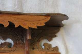 L839 ANTIQUE ORNATE VICTORIAN CARVED OAK CLOCK SHELF