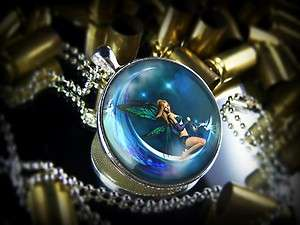 Large Magical Moon Fairy Love Charm Fantasy Sterling Silver Necklace