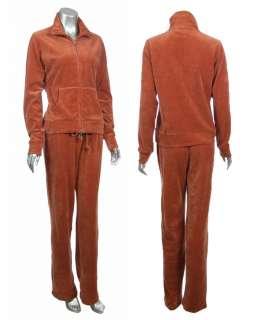 Studio Womens Cotton Blend Lounge Jacket & Pant Velour Track Suit Set