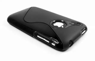 BLACK TPU RUBBER CASE COVER SKIN FOR IPHONE 3G 3GS NEW