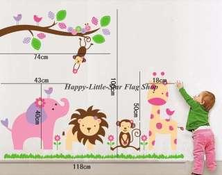 Jungle Animal Zoo(Lion, Elephant,Monkey, Giraffe)Nursery Wall