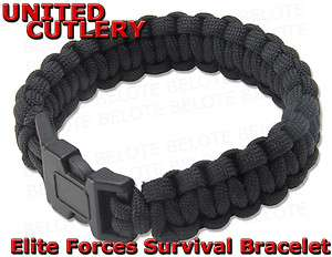 United Cutlery Elite Forces BLACK Paracord Survival Bracelet UC2763