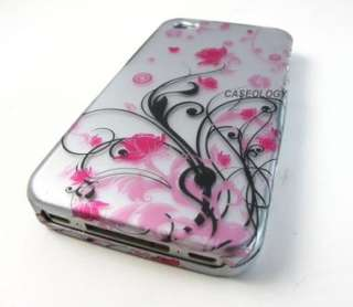 PINK SILVER VINE FLOWERS HARD CASE COVER FOR APPLE IPHONE 4 4s PHONE