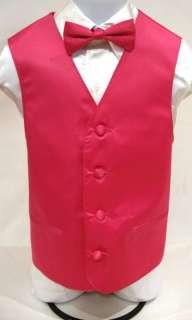 Boys Fuchsia Pink Tuxedo Vest Bow Tie Set Kids Dress Vest Bow Tie Size