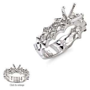 Ct Round Diamond Antique Style Engagement Ring Setting 18k White Gold