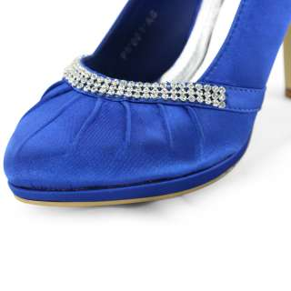 rhinestones bridal navy ruched satin platform heels pumps shoes sz