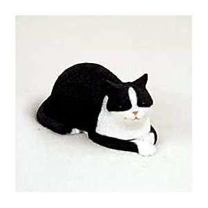 CAT BLACK/WHITE Tabby CAT NAP Resin NEW Figurine CF47