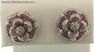 Vintage 14k White Gold Diamonds Pink Sapphires Flower Design Earrings