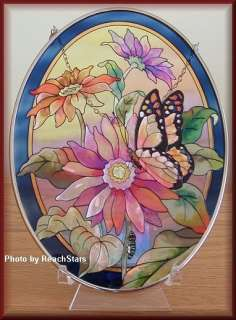 AMIA HAND PAINTED GLASS SUNCATCHER DAISIES & BUTTERFLY